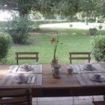 Centre-Val de Loire Indre vakantieverblijf Le Prieure terras ontbijt gedekte tafel