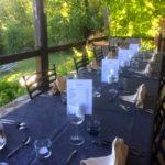 Dordogne Nouvelle Aquitaine gedekte tafe vakantieverblijf eettafel
